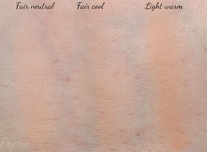 Urban Decay Naked Skin Ultra Definition Powder Foundation swatches in Fair neutral, Fair cool and Light warm.