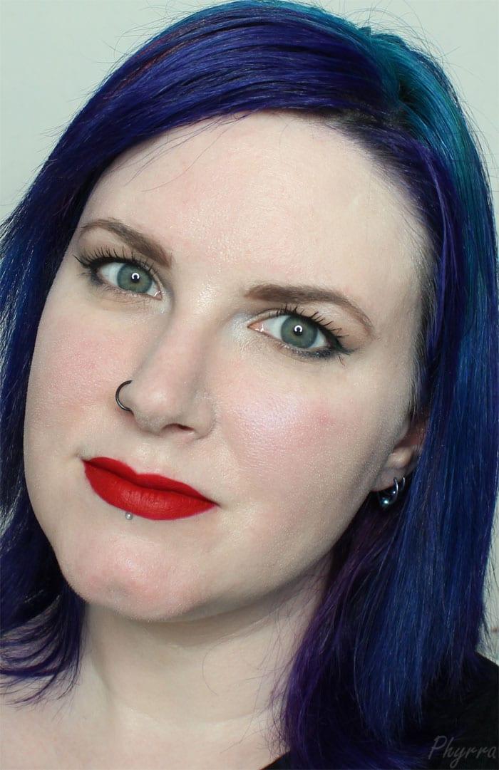 Wearing Jeffree Star Velour Liquid Lipstick in Redrum