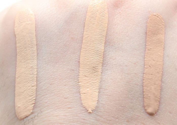 Urban Decay Naked Skin Weightless Complete Coverage Concealers in Fair neutral, Light warm, Light neutral.