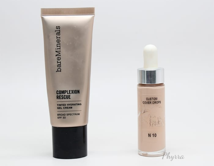 bareMinerals Complexion Rescue Tinted Hydrating Gel Cream in Opal mixed with Cover FX Custom Cover Drops in N10