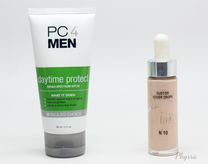 Paula's Choice PC4 Men SPF30 mixed with Cover FX Custom Cover Drops in N10