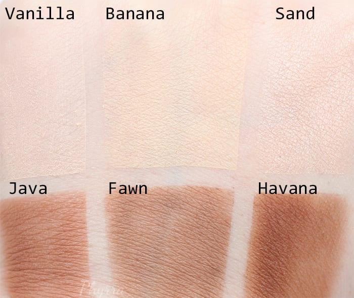 Anastasia Beverly Hills Vanilla, Banana, Sand, Java, Fawn, Havana Swatches - Phyrra.net