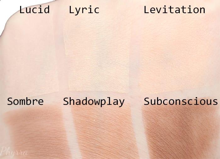 Kat Von D Shade + Light Contour Palette - Lucid, Lyric, Levitation, Sombre, Shadow Play, Subconscious swatches - Phyrra.net