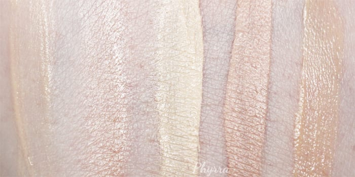 Urban Decay Eyeshadow Primer Potions in Original, Minor Sin, Eden, Enigma and Anti-Aging Swatches