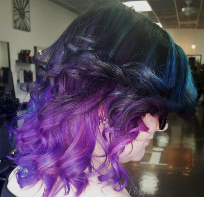 Teal Orchid Violet Hair