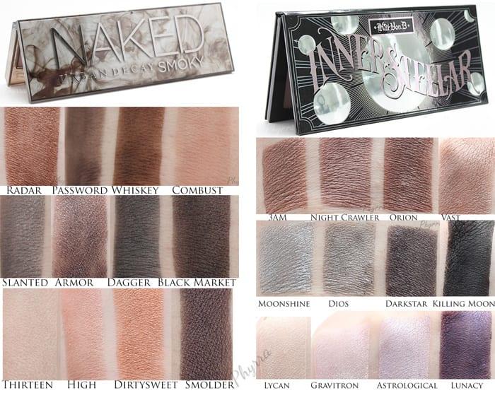 Quick Comparison - Kat Von D Innerstellar vs. Urban Decay Naked Smoky - Phyrra.net