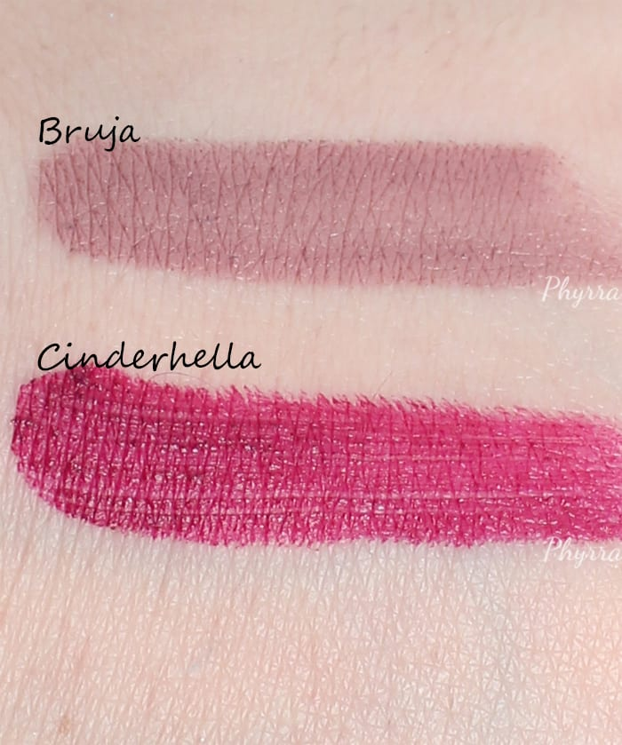 Lunatick Cosmetic Labs Apocalipsticks in Bruna and Cinderhella Swatches