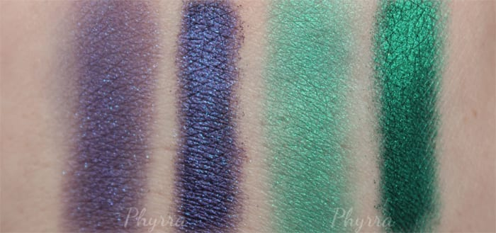 Kat Von D Metal Crush Eyeshadow Swatches in Danzig and Iggy