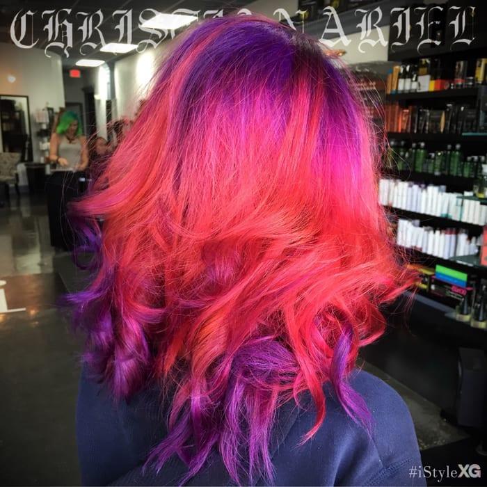 Strobe Hair - purple, pink red - by Christian Ariel