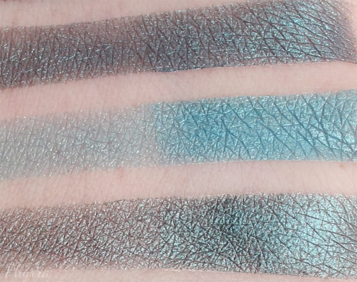 Comparison between (top to bottom) Dragonfly, Teal Shimmer & Mermaid