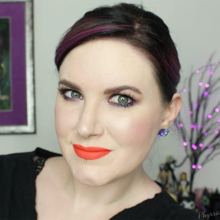 Purple Eyeshadow, Orange Lips