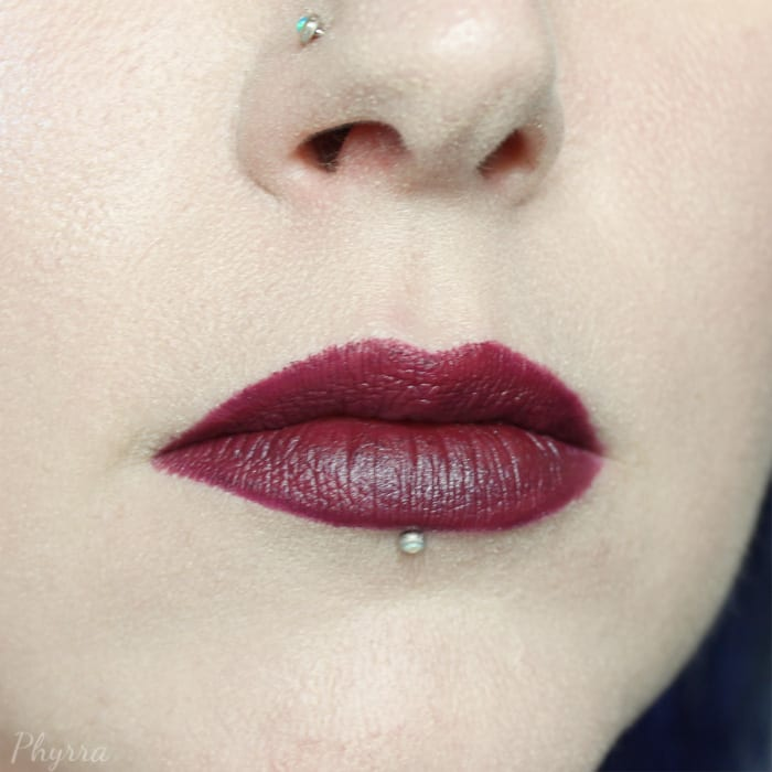 Obsessive Compulsive Cosmetics Colour pencil in Black Dahlia topped with Fyrinnae Witchcraft