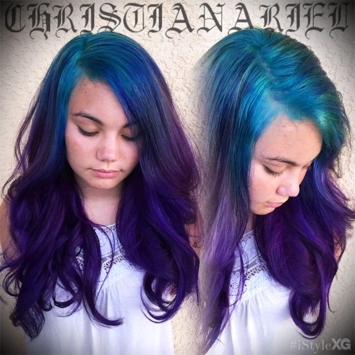 Pravana Teal to Purple Hair