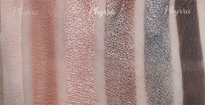 Silk Naturals Bare Necessities Smoky Swatches, Urban Decay Naked Smoky Dupes