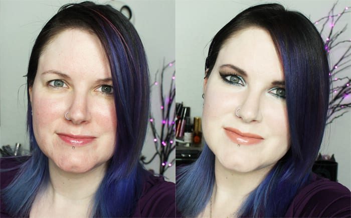 Before and After with Cover FX Liquid Foundation in N0
