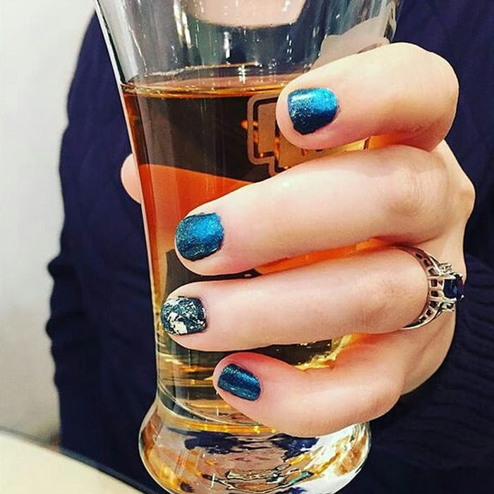 My CND Shellac Mani and New Day Meadery Shelby Blue Ribbon mead
