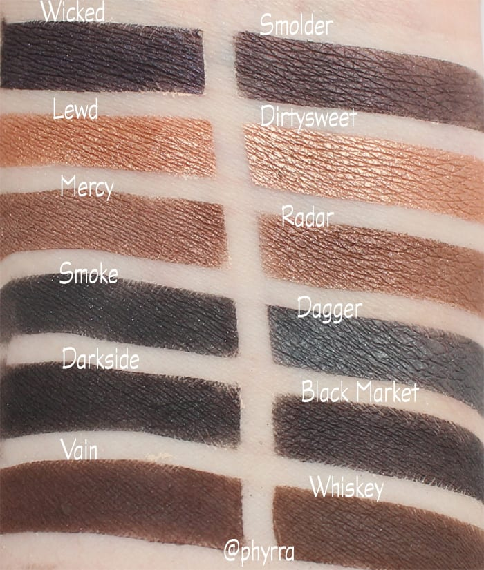 Silk Naturals Bare Necessities Smoky Palette vs. Urban Decay Naked Smoky Palette - swatches, comparison, review