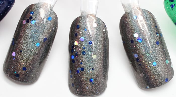 KBShimmer Coal in One topped with Oh Holo Night mani
