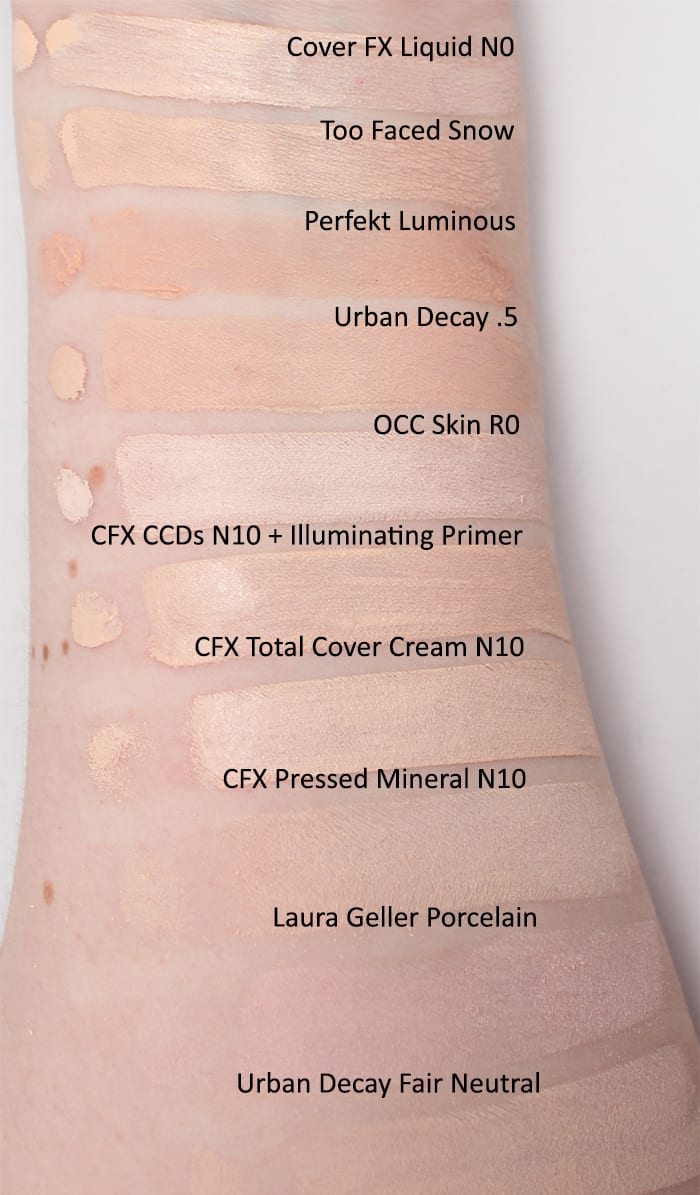 Cruelty Free and Vegan Pale Foundation Swatches