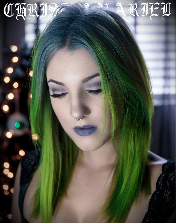 Pravana ChromaSilk Hair Color and Pravana Neons green hair style