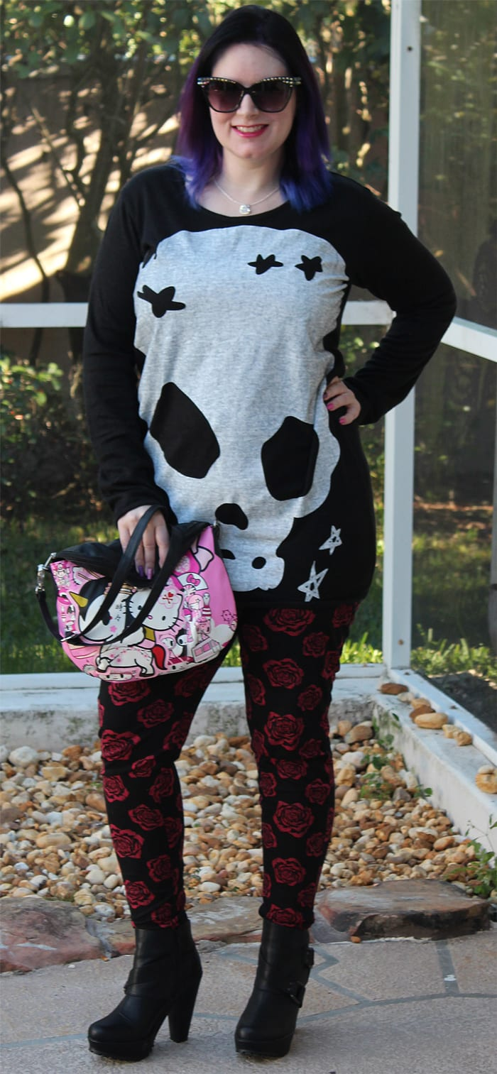 Skulls and Roses Outfit - Edgy Alternative and Vegan Fashion