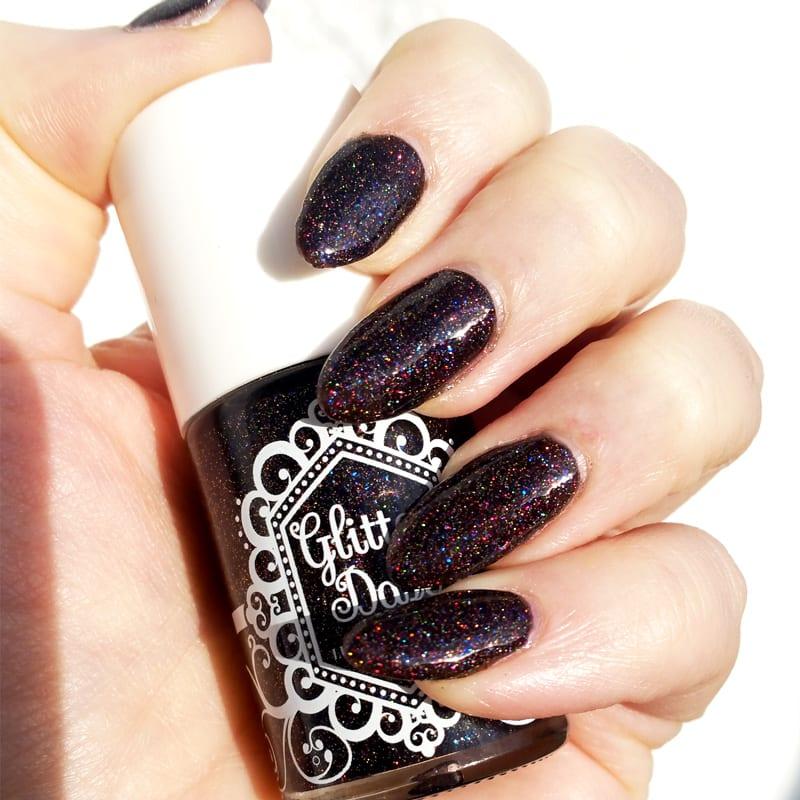 GlitterDaze Bellatrix nail polish on almond shaped nails