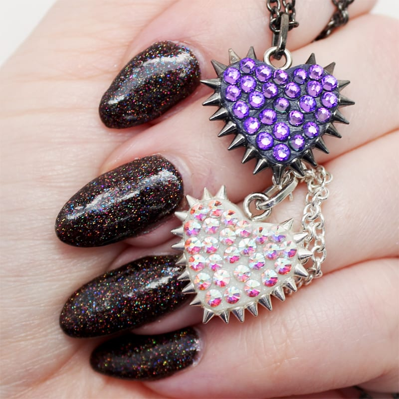 Bunny Paige Micro Spiked Heart Necklaces with GlitterDaze Bellatrix Almond Shaped Nails