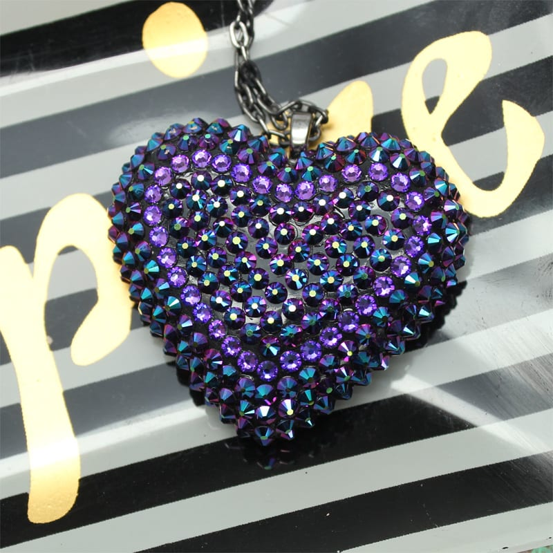 Bunny Paige classic pavèd heart necklace in Intergalactic