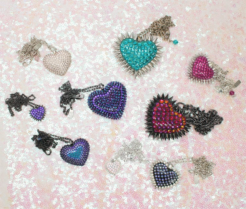 Bunny Paige Pavèd Heart Necklaces
