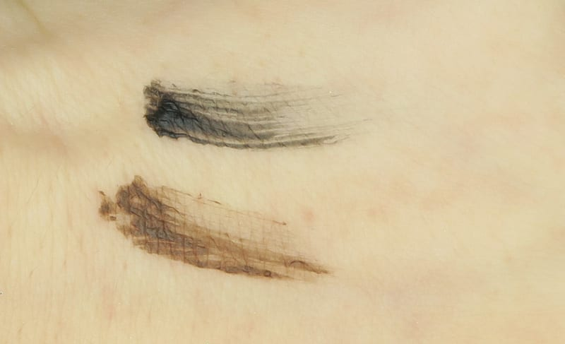 Glossier Boy Brow Review Swatches Black and Brown