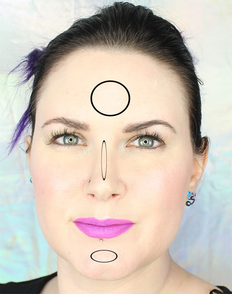Highlight the Forehead, Chin and bridge of the nose