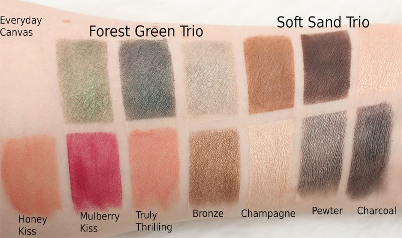 Honest Beauty Everything Makeup Palette, Forest Green, Soft Sand Swatches