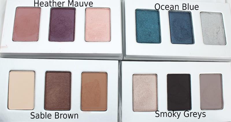Honest Beauty Heather Mauve, Ocean Blue, Sable Brown, Smoky Greys