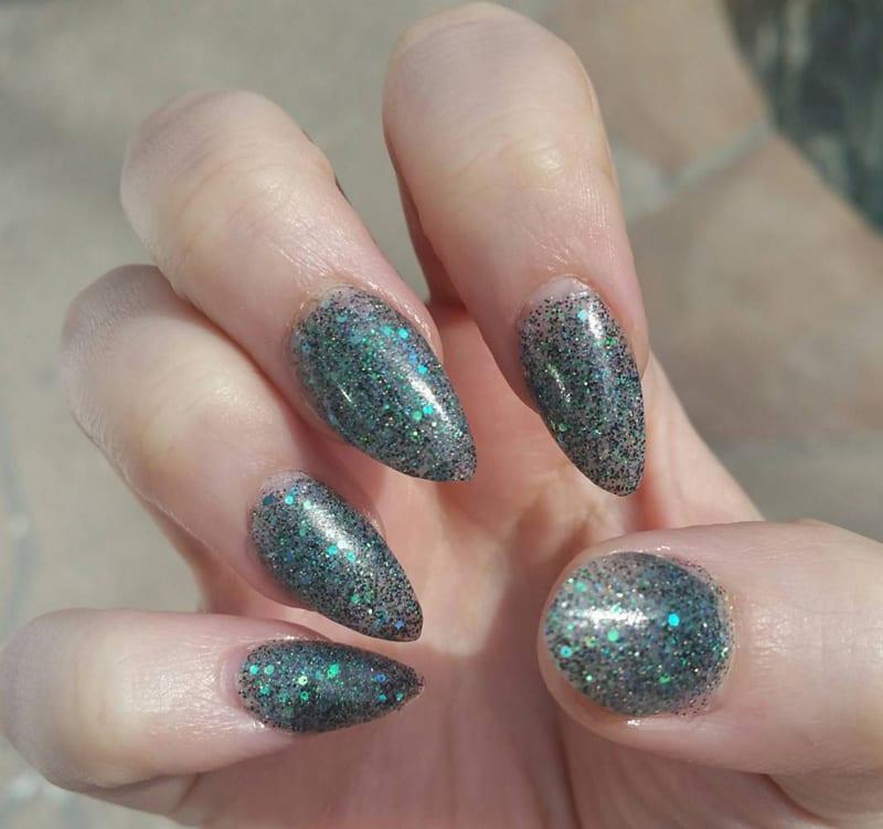 Smoky Turquoise Glitter Acrylic Nails