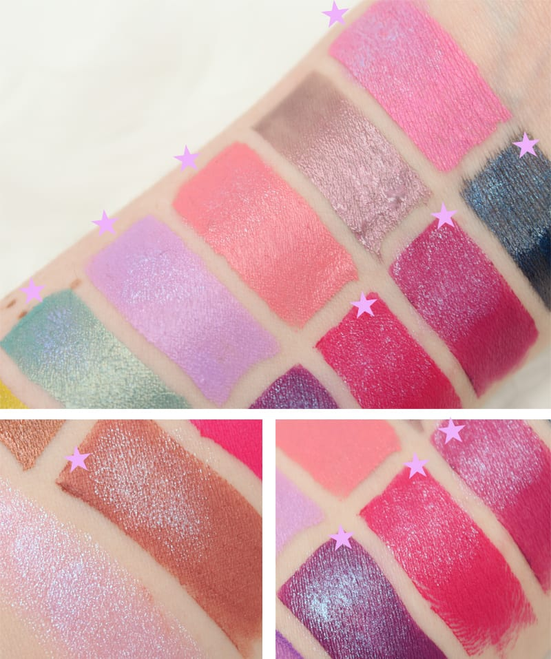 Spring Lipstick Swatches with Too Faced Unicorn Tears Layered on Top