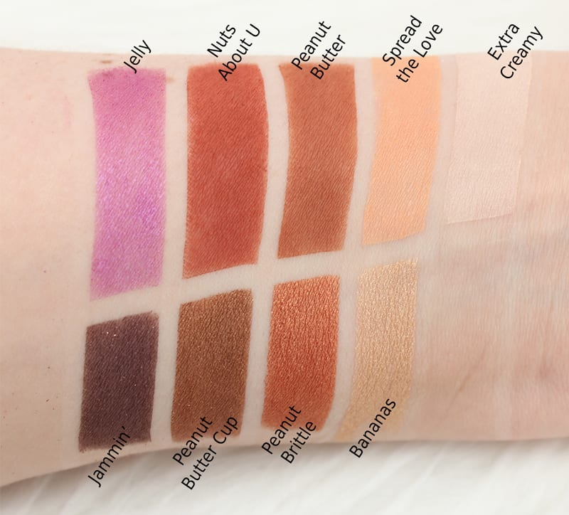 Too Faced Chocolate Palettes Comparisons - Peanut Butter and Jelly Palette swatches