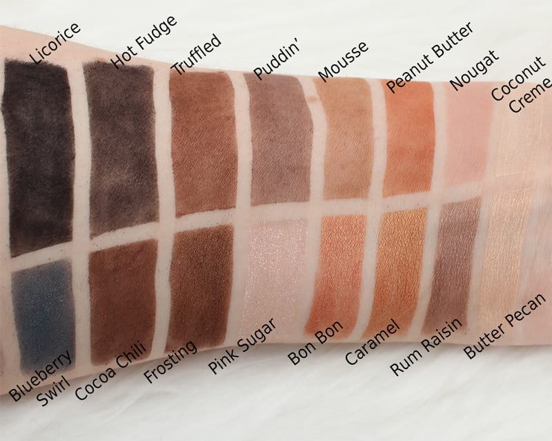 Too Faced Chocolate Palettes Comparisons - Semi-Sweeet Chocolate Bar Palette Swatches