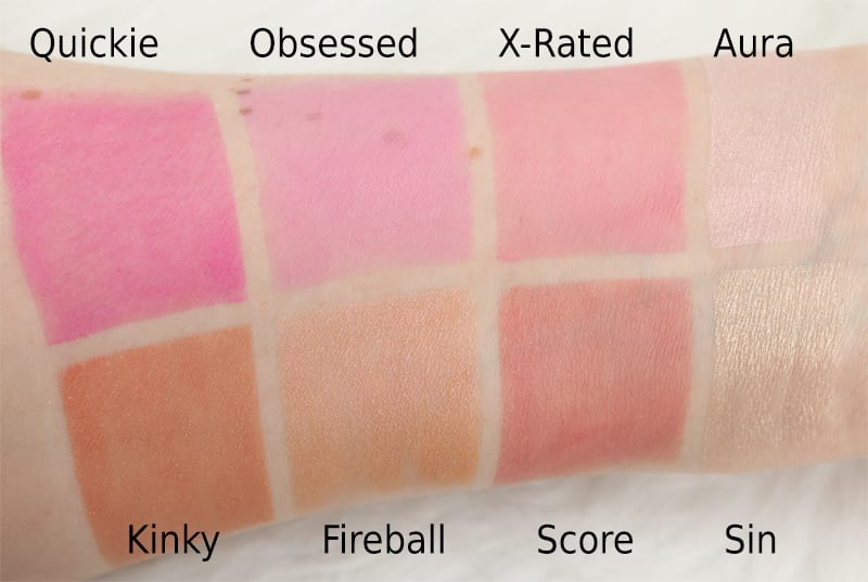 Urban Decay Afterglow Blush and Highlighter swatches