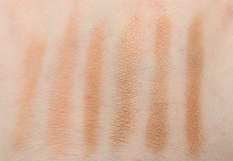 Swatches of NARS Craving, Urban Decay SunKissed, Urban Decay Bronzed, Too Faced Sweet Tea, Tarte Park Avenue Princess