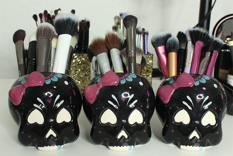 Sourpuss Sugar Skull Candy Dish Face Brush Holders