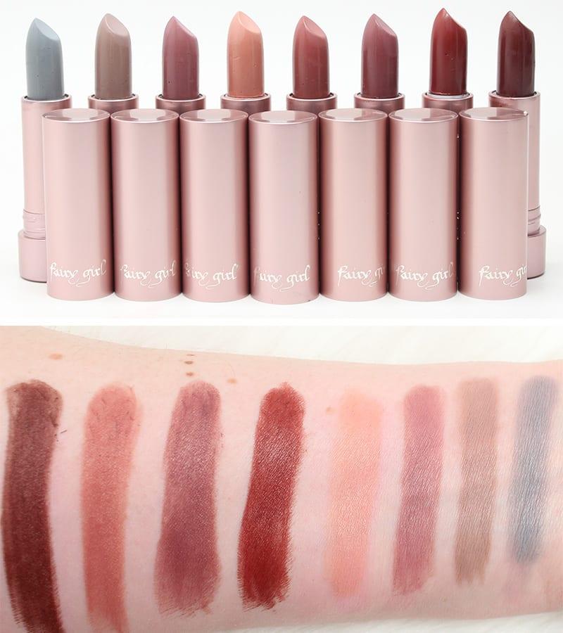 Fairy Girl Lipsticks Swatches in Dom - Melrose - Cina - Camden - Hermosa - Angel - LAX - Luna