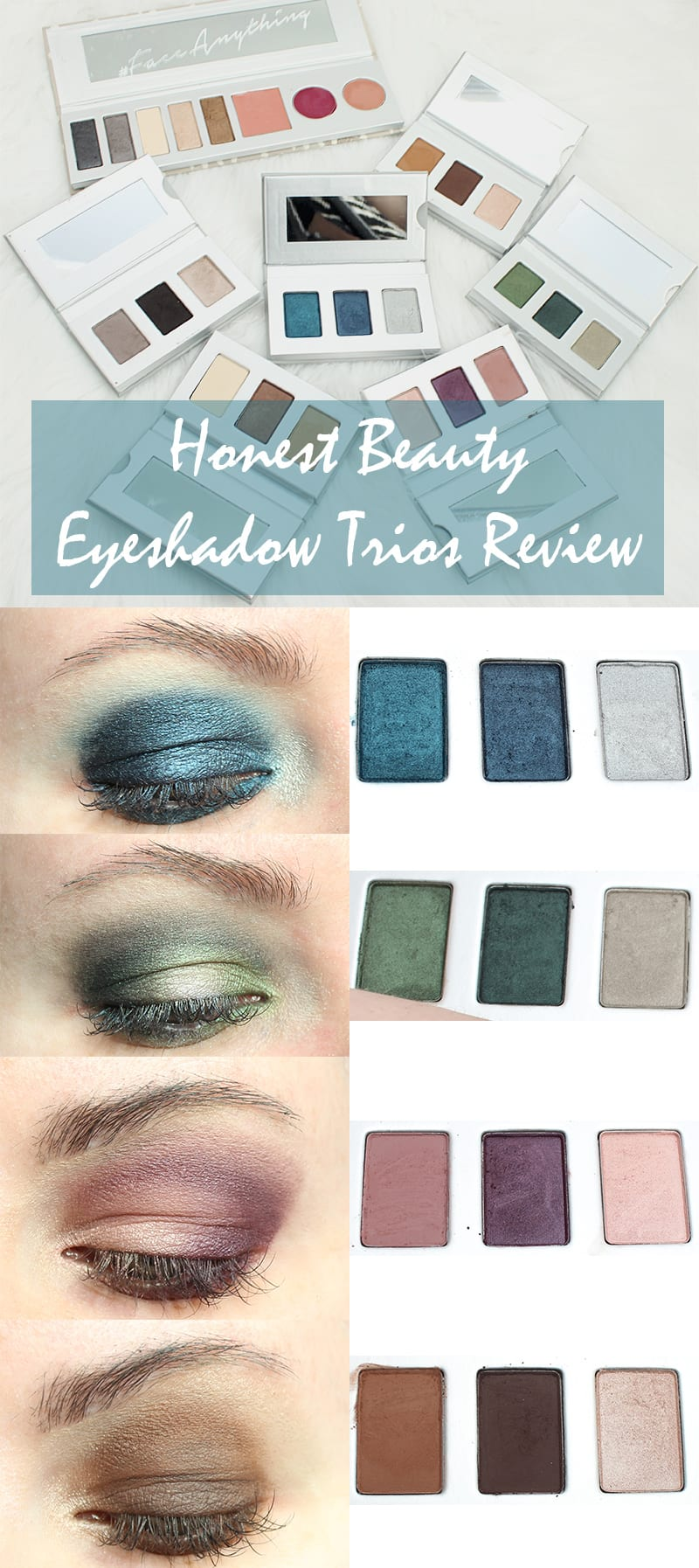 Honest Beauty Eyeshadow Trios Review Comparison Swatches Looks