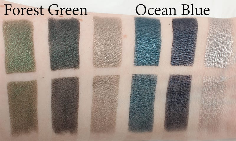 Honest Beauty Forest Green and Ocean Blue Comparison Swatches