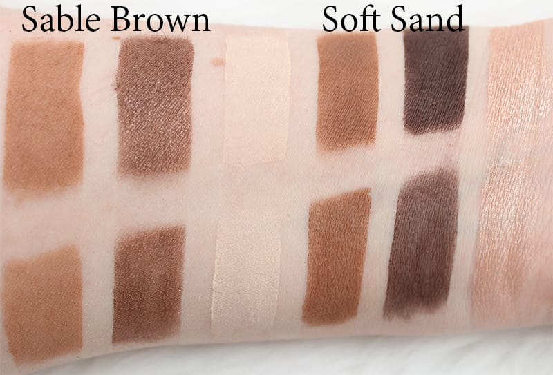 Honest Beauty Sable Brown and Soft Sand Comparison Swatches