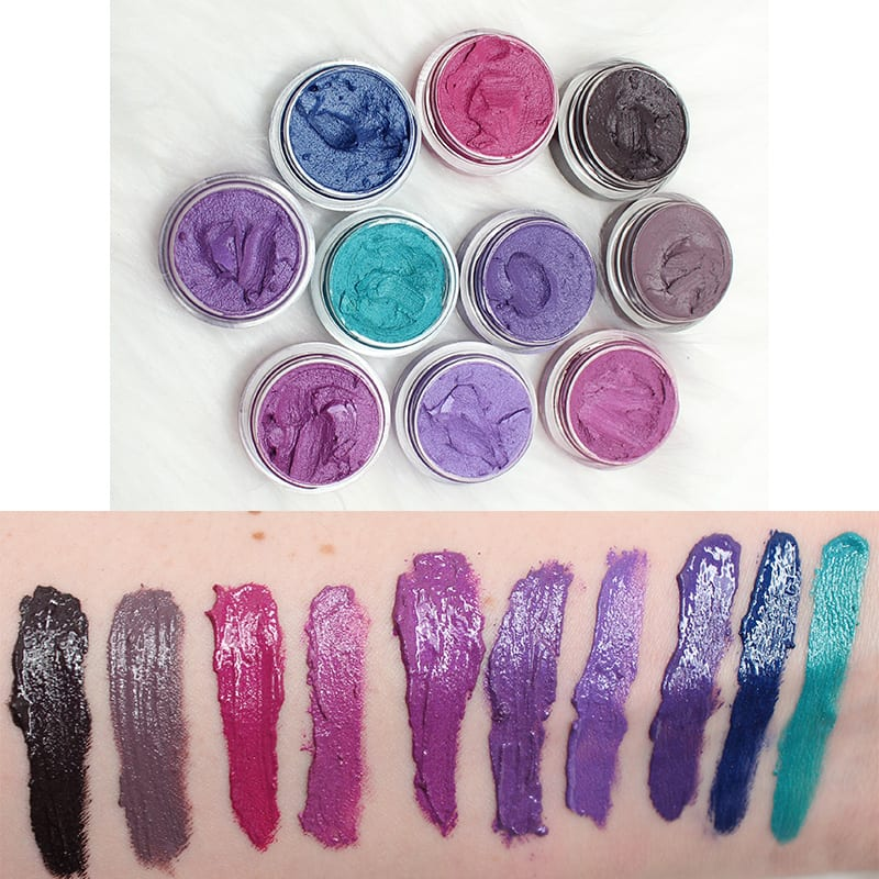 MBA Cosmetics Lipstick Swatches in Voodoo - Frozen Plum - Burlesque - Heliotrope - Grape Crush - Stargazer - Paranormal - Violet Riot - Indigo - Aquatic