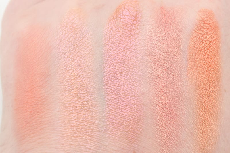 Urban Decay Reflection - Duchess - Fireball - Free Love - Paradox Swatches