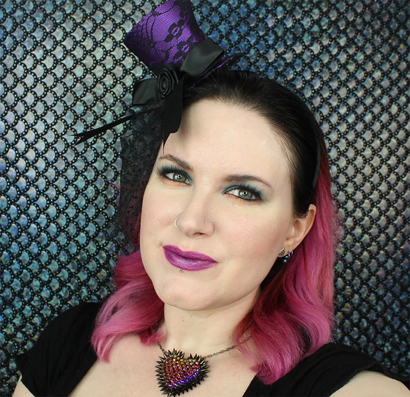 Urban Decay Mad Hatter Lipstick on Pale Skin