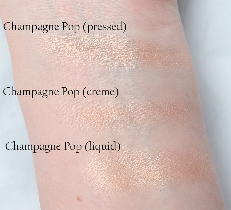 Champagne Pop Shimmering Skin Perfector swatches