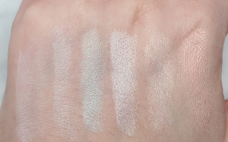 Geek Chic Highlighters Everlasting Storm - Patrichor - Glacial Ice - Aurora Borealis - Danxia Dawn - Flamingo Love Nest swatches