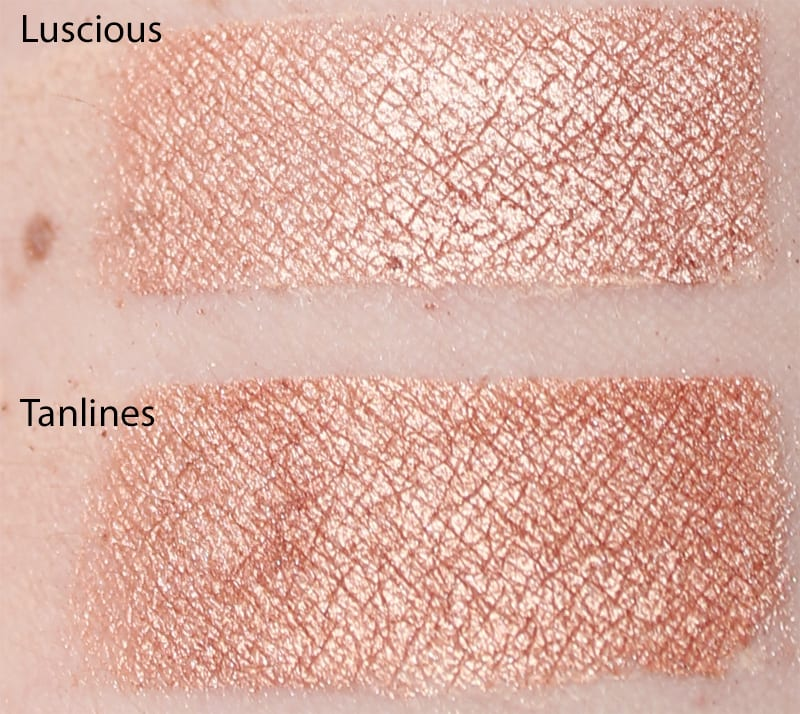 Silk Naturals Tanlines dupe for Too Faced Luscious swatch